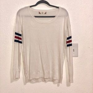 White Sweater with Color Block Stripes